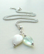 NECKLACE Blue Fluorite and Mother of Pearl Tear Drop PENDANT CLUSTER  KCJ1162