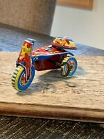 Vintage *Wind Up Litho Tin Toy Tricycle* Made in Japan* RARE! w/Bell..