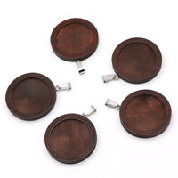 2 Pcs Wood Cabochon Cameo Setting Base Necklace Blank Tray Pendant DIY Jewelry