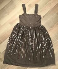 e8f51e63015 H M 12   14 ANS FILLE   Robe Voile Strass Grise TBE