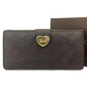 GUCCI Shima GG Logo Heart Brown Leather Long Bifold Wallet /C0806