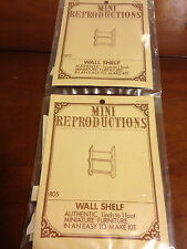 "2 Dollhouse miniatures wood kit wall shelf 1 5/8"" x 2 1/4"""