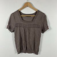 Nougat London Womens Top Size Small (AU 6) Brown Short Sleeve Gorgeous Design