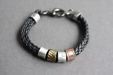 NEW Leather Braided Metal Surfer Bracelet Wristband Vintage Black Men's 7.5""