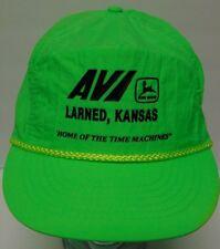 New Vtg 1980s 90s John Deere Tractors Larned Kansas Farm Neon Green Trucker Hat