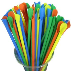 100x Spoon Straws 20cm Smoothies Milkshake  Juice Straw Party BarKTVRestaurant