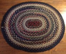 """New listing Vintage Wool Braided Rug. 36"""" X 42"""". Blues, Grays And Reds"""