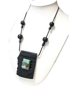 Black Modernist Polymer Clay Copper Quartz Necklace SIGNED Miy-Britt?