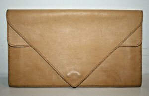 "Vintage Light Beige Leather Woman's Lady's Handbag Envelope Bag Fashion 13x7"""