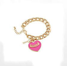 Charming Pink Enamel Love Heart Forever Gold Tone Metal Key Cuff Bracelet Link