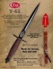 CASE XX KNIVES V-42 FIGHTING STILETTO & SHEATH #21994 AND #21943 WALNUT DISPLAY