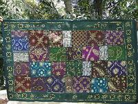 Tapis mural Vert Tenture Dessus de table Patchwork Fait main Boho Hippie Inde G1