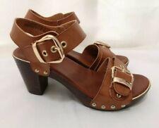 Tan Real Leather Gold Buckle Mule Block Heels Sandal Size 3