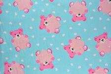 Pink Teddy Bears Flannelette Fabric 108cm Wide (per metre)
