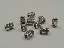 6 Tibetan Silver Tube Column Beads, Antique Silver 10x7mm, 4mm