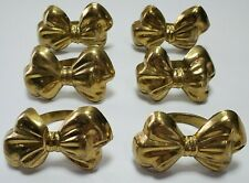 Brass Bow Napkin Ring Set of 6 Made In India Lightweight