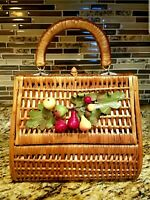 Vintage 1940s Wicker Woven Wine Tasting Picnic Basket Purse Decorated Fruit RARE