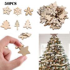 50Pcs Christmas Natural Wood Chip Ornament Xmas Tree Mixed Hanging Pendant Decor