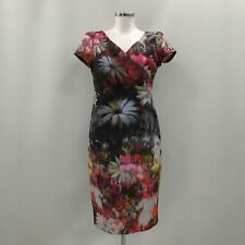 ADRIANNA PAPELL Multicoloured Floral Beaded Zip Dress Womens Size UK 12 453778