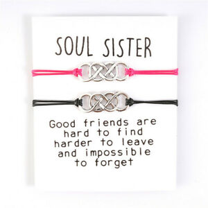 Soul Sister Best Friend Multi Infinity Wish Charm Friendship Card Bracelet Gift