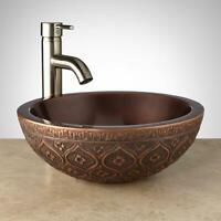 "Signature Hardware 921509 Nilofar 14"" Copper Vessel Bathroom Sink - Copper"