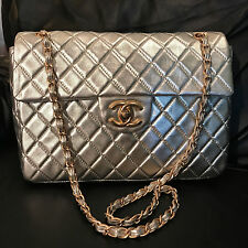 CHANEL Silver Leather Jumbo Single Flap Limited Edition Shoulder Bag