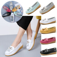 US 12 Women's Genuine Leather Moccasin Loafers Shoes Flat Slip-On Casual Walking
