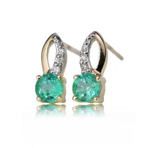 9ct Gold Earrings Stud Diamond Green Natural Emerald Loop Womens Ojewellery Boxe