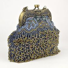 Beaded Handbag Evening Bag Blue Gray Loop Looped Bead Purse Fringe Bag Sequin or