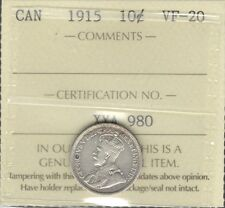 1915 Ten Cents ICCS Graded VF-20 HIGH Grade LOW Mintage SCARCE George V KEY Dime