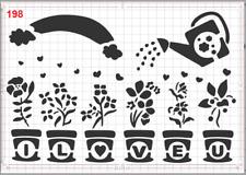 Growing Watering Love Stencil MYLAR A4 sheet strong reusable Art Craft wall deco