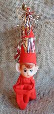 Vintage Knee Hugger Pixie Elf Christmas Ornament Tinsil Accent Napco Japan #009