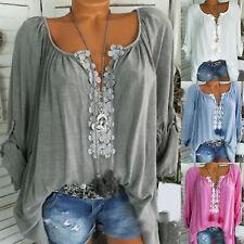 Women Ladies Plain T Shirt Tops Long Sleeve Blouse Casual Loose Plus Size 8-22
