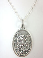 "St Michael the Archangel / Pray for Us Medal Pendant Necklace 20"" Chain Gift Box"