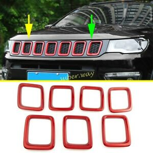 Red Front Central Grille Vent Grill Cover Trim Frame For 2017-2021 Jeep Compass