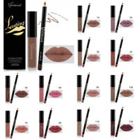 Makeup Matte Lipstick Long Lasting Waterproof Lip Liquid Pencil Gloss Liner Set