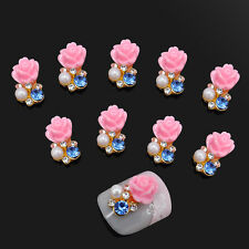 10x Nail Art Alloy Slices 3D Rhinestone Pearl Rose Flower Charms DIY Decorations