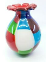 Vintage Modernist Murano Style Art Glass Vase Red Flower Patchwork 10.5""
