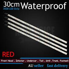 4 X 30cm RED 18-SMD LED Strip Flexible Lights Car Caravan Motor Waterproof