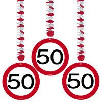 Spiralen Girlande 3 St. Verkehrsschild Zahl 50 Geburtstag Rotorspiralen