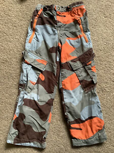 Mini Boden Boys Camouflage Print Jersey Lined Cotton Blend Cargo Trousers Age 7