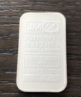 (1)One Troy Ounce .999 Fine Silver Johnson Matthey Bar(Secondary Market) One Bar