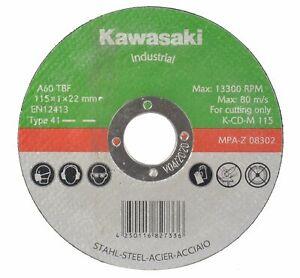Kawasaki 115m Flat Cut-off Wheels for Metal suitable angle grinder grinding