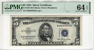 1953 $5 SILVER CERTIFICATE NOTE FR.1655 BA BLOCK PMG CHOICE UNC 64 EPQ (659A)