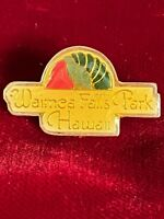 "Waimea Falls Park Hawaii Epoxy Enamel Travel Souvenir Tie Lapel Pin 1.25"" Vtg"