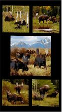 5 BEAUTIFUL WILDLIFE PANELS with MOOSE FABRIC MATERIAL FOR QUILTS & HOME DECOR