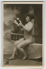 c 1910 French Nude LADY BEAUTY woman women risque photo postcard