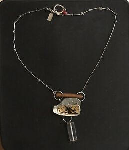 ANNE MARIE CHAGNON MODERNIST WOOD Crystal Pewter HANDMADE NECKLACE