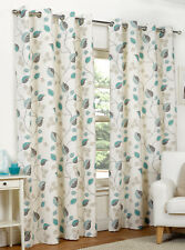 April Teal Ring Top / Eyelet Fully Lined Readymade Curtain Pair 90x90in 228x228c