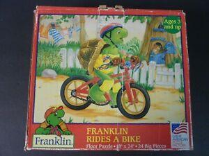 "1998 Franklin Rides a Bike Large Floor Puzzle 18"" x 24""- 24 Pieces- Complete"